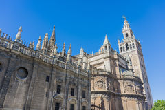 The Giralda in Seville, Andalusia, Spain. The Giralda (La Giralda), a former minaret converted to a bell tower for the Cathedral of Seville in Seville Royalty Free Stock Photo