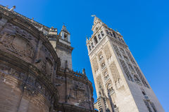 The Giralda in Seville, Andalusia, Spain. The Giralda (La Giralda), a former minaret converted to a bell tower for the Cathedral of Seville in Seville Royalty Free Stock Photography