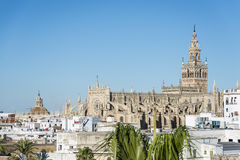 The Giralda in Seville, Andalusia, Spain. The Giralda (La Giralda), a former minaret converted to a bell tower for the Cathedral of Seville in Seville Royalty Free Stock Photos