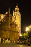 Giralda of Seville illuminated at night. Spain Stock Images