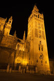 Giralda of Seville illuminated at night. Spain Royalty Free Stock Photography