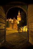 Giralda of Seville illuminated at night. Spain Stock Photos
