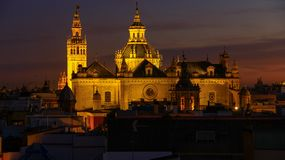 Panorama of Sevilla Spain view Catedral de Sevilla Cathedral, Seville royalty free stock photography