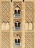 Giralda tower of the cathedral of Seville, Andalusia, Spain. Arabic architecture, sebka, detail of the Giralda tower in Seville Cathedral,  Andalusia, Spain Royalty Free Stock Photography