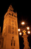 The Giralda tower at night Royalty Free Stock Images