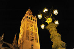 The Giralda Tower at night, Cathedral of Seville, Andalusia, Spain Royalty Free Stock Photos