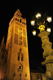 The Giralda Tower at night, Cathedral of Seville, Andalusia, Spain Stock Images