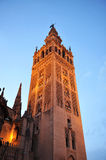 The Giralda Tower at sunset, Cathedral of Seville, Andalusia, Spain Stock Photos