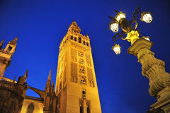 The Giralda Tower at sunset, Cathedral of Seville, Andalusia, Spain Stock Photography