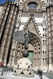 Giraldillo in Seville cathedral. A replica of La Giralda was made and placed ground level close to the original (which is on top of the highest tower in Seville royalty free stock images