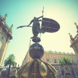 Giraldillo. (weathervane 16-th century) in Sevilla, Spain. Retro style filtred stock photography