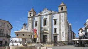 Giraldo fyrkant, evora, Portugal Royaltyfri Bild