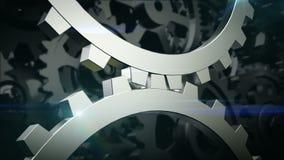 Girando duas engrenagens Mecanismo de duas rodas denteadas ilustração royalty free