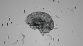Girando il cervello umano contro lo sfondo del plesso e dei punti esclamativi Connessione di rete su fondo bianco illustrazione vettoriale