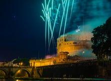 Girandola在罗马 库存照片