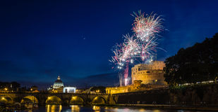 Fireworks in Rome and Vatican Royalty Free Stock Images