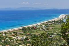 Girapetra海滩,莱夫卡斯州,爱奥尼亚人海岛 免版税库存图片