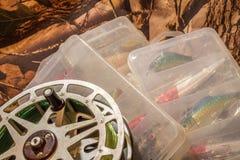 girar seduz na caixa e em pescar o carretel Foto de Stock