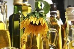 Girasol y botellas con aceite de cocina imagenes de archivo