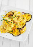 Girasole ravioli with aubergine or eggplant Royalty Free Stock Photography