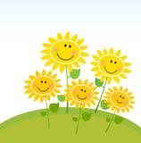 Girasoles amarillos felices del resorte en jardín libre illustration