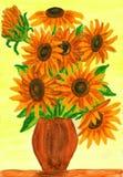 Girasoli arancio, dipingenti Fotografia Stock Libera da Diritti