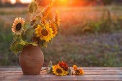 Girasoli in brocca sulla tavola di legno al tramonto Immagine Stock Libera da Diritti