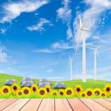 Girasoli con il generatore eolico ed i pannelli solari sul fie dell'erba verde Fotografie Stock