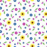 Girasoli, papaveri ed altri fiori su un fondo bianco royalty illustrazione gratis