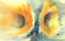 Girasoli sull'acquerello del fondo di lerciume Fotografie Stock