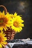 Girassóis bonitos em uma cesta em uma tabela de madeira Imagens de Stock Royalty Free