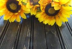 Girassóis com fundo de madeira Foto de Stock Royalty Free