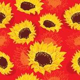 Girassóis estilizados e flores alaranjadas ilustração stock