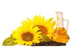 Girassóis, petróleo e sementes Imagens de Stock Royalty Free