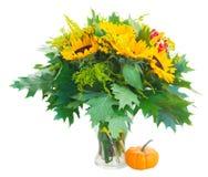 Girassóis com folhas verdes Fotografia de Stock Royalty Free