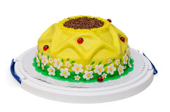 Girassol amarelo do bolo de aniversário com joaninha e foto de stock
