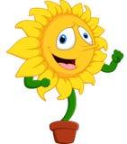 Girassol do sorriso dos desenhos animados Imagens de Stock Royalty Free
