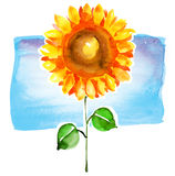 Girassol do Watercolour Fotografia de Stock Royalty Free