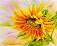 Girassol, pintura a óleo Fotos de Stock Royalty Free