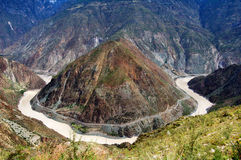 Girata del fiume di Jinsha grande Fotografie Stock