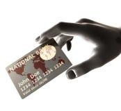 Girata della carta di credito d'argento Immagine Stock