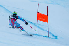 GIRAUD MOINE Valentin (FRA). VAL GARDENA, ITALY - DECEMBER 21:  GIRAUD MOINE Valentin (FRA)  races down the Saslong competing in the Audi FIS Alpine Skiing World Royalty Free Stock Photography