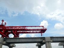 Girder crane on site. Girder crane on site under construction stock photos