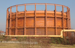 Girder frame gas storage tank Royalty Free Stock Images