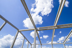 Girders structure. New structure girders on skeleton of the future roof against the blue sky Stock Images