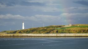 Girdleness Lighthouse and rainbow in the North Sea Aberdeen stock video