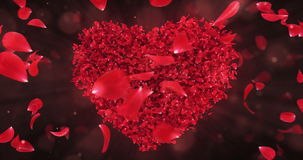 Gire el lazo rojo giratorio 4k del fondo de la forma del corazón de Rose Flower Petals In Lovely
