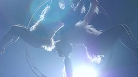 Gire en el aire a dos gimnastas Fondo negro del humo Silueta Cámara lenta Cierre para arriba almacen de video