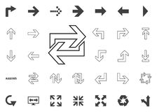 Gire a la derecha trasero e icono de la flecha izquierda Iconos del ejemplo de la flecha fijados stock de ilustración