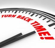 Gire para trás o flashback reverso do envelhecimento do relógio de ponto Foto de Stock Royalty Free